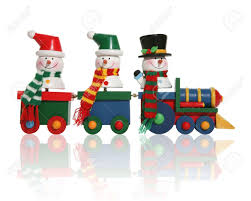 Colorful Snowmen Riding On A Toy Train