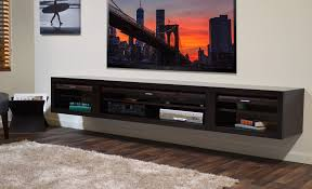 ... Floating Shelves Under Wall Mounted Tv Long Rectangle Black Stained  Solid Wood Floating Entertainment Shelves Under ...