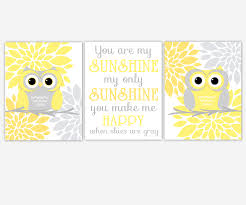 baby girls canvas nursery wall art yellow gray grey flower burst you are my sunshine my only sunshine owls dahlia mums canvas prints baby nursery decor