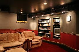 ... Charming Home Theater Design Ideas With Cream Fabric Upholstered Sofa  Including Red Fabric ...