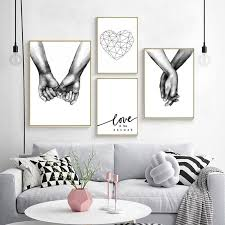 white canvas prints hand in hand