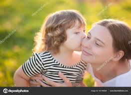 adorable little daughter kissing her mother loving daughter attractive youang mother time with pas caring mother happy family