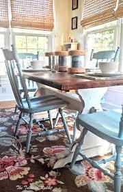 I DIY Rustic Farmhouse Trestle Table Makeover Painted Farmhouse Tabletwo  Tone Table