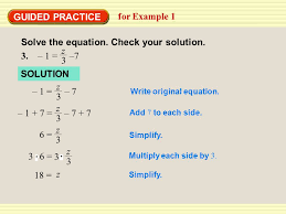 guided practice for example 1 solve the equation check your solution