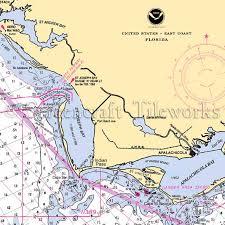 Florida Indian Pass Nautical Chart Decor