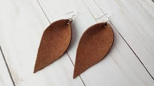 image of pinched teardrop leather earrings