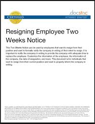 resignation letter 2 week notice template