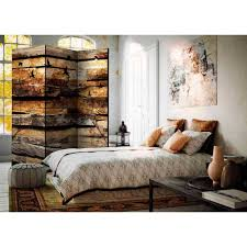 Mobile Trennwand Holz Natur Motiv 3 Elemente 135x172 Cm Vonika