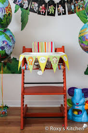 safari jungle themed first birthday party diy high chair banner free printable included