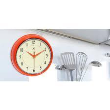 infinity instruments 9 1 2 in orange retro round metal wall clock