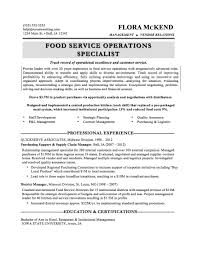 Food Service Manager Resume Sample Free Resume Example And