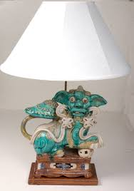 chinese ceramic foo dog lamp item 2924