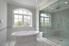 Luxurious Glass Tile Bathroom Without Shower Pertaining To Household