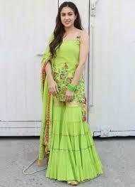 Neon Designer Dress Neon Green Color Party Wear Heavy Thread Work Designer