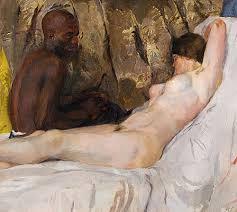 Hans Sutter - Gemälde Kunstdruck Liegender Akt mit Afrikaner - liegender_akt_mit_afrikaner_kd128-052378
