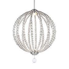 mill mason cristalina satin nickel 20 inch led globe pendant