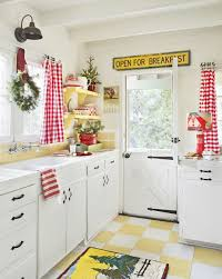 Kitchen Style White And Red Christmas Kitchen Curtains In Window