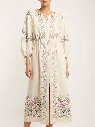 Designer Linen Clothing Uk Maggie Floral Embroidered Linen Dress Vilshenko