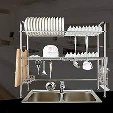 haitral 2 tier double slot stainless steel kitchen dish rack cutlery holder tidy stacking shelf