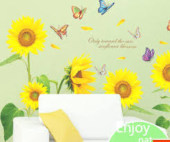 sunflower wall decals sunflower wall stickers for living room home decor wall art large sunflower wall