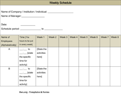 Weekly Schedule Template 8ws Templates Forms
