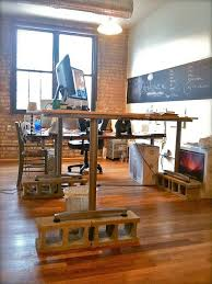 Wonderful Ikea Standing Desk Galant Add A Few Cinder Blocks Throughout Decorating