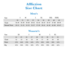 Affliction Jeans Size Chart Affliction Clothing Size Chart Related Keywords