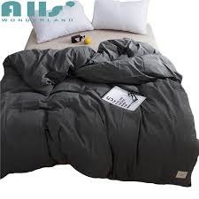 high quality black duvet cover solid color 1pc quilt cover 220x240cm modern design brief style washed