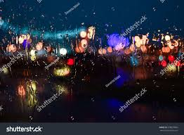 City Lights Video And Photography City Lights View Trough Wet Glass Stock Photo Edit Now