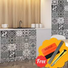 wt3024 vintage blue brown english e mosaic tile wall stickers