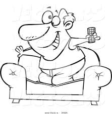tv remote clipart black and white. vector of a cartoon couch surfer guy standing on his sofa with tv remote control tv clipart black and white n