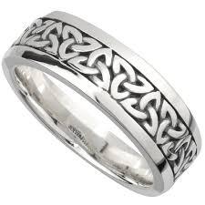 Irish Wedding Band Sterling Silver Mens Celtic Trinity Knot Ring