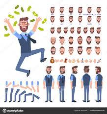 サイド 背面アニメーション文字 ビジネス男性キャラクター作成のさまざま