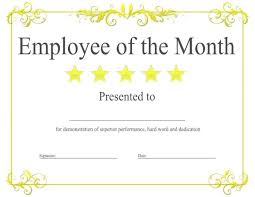 Printable Employee Of The Month Certificates Employee Of The Month Certificate Sample Gulflifa Co