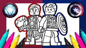 Captain America Iron Man Coloring Page Lego Marvel Coloring For Kids