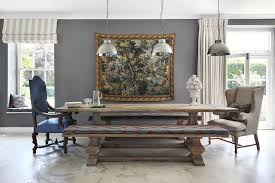 view in gallery replace the traditional chairs with wooden benches dining room design vsp interiors modern farmhouse table t43