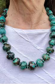 Turquoise Graduated Chunky Bead Necklace