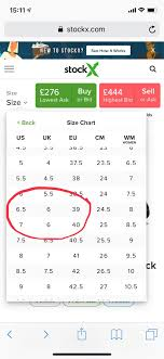 Stockx Size Chart Question Why Is A U K 6 Both Us 6 5 And