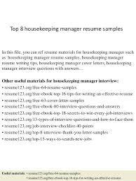 resume for housekeeper top 8 housekeeping manager resume samples 1 resume  housekeeper skills