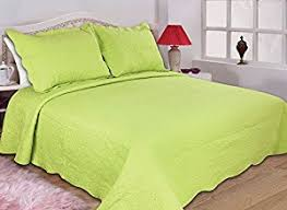 Amazon.com: All for You 2-Piece Reversible Embroidered Bedspread ... & All for You 2-Piece Reversible Embroidered Bedspread/coverlet/Quilt  Set-twin Size-lime green Adamdwight.com