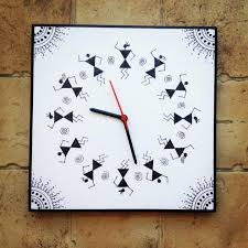 black and white handmade hand painted warli wall clock black and white handmade hand painted warli wall clock in india at best s tfod