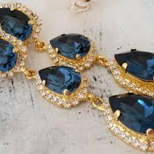 navy blue long chandelier earrings drop earrings dangle earrin