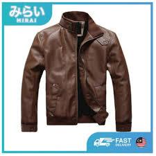 mirai men s pu leather jacket outerwear motorcycle windbreaker jaket kulit berkolar
