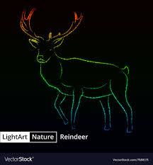 Reindeer Silhouette Lights Reindeer Silhouette Of Lights On Black Background