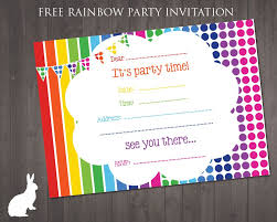 Make Your Own Printable Birthday Invitations Online Free Free Rainbow Party Invitation Ruby And The Rabbit In 2019