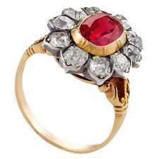antique ruby diamond silver gold ring