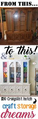 See how I turned a $90 china cabinet from Craigslist into a beautiful yarn  and craft