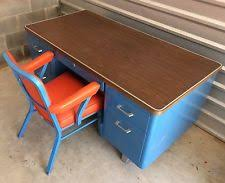 vintage industrial metal office chair metal. METAL TANKER DESK BLUE ORANGE VINYL CHAIR VINTAGE MIDCENTURY RETRO INDUSTRIAL Vintage Industrial Metal Office Chair G