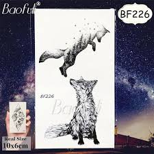 Geometric Animal Women Temporary Tattoo Fox Flower Plant Waterproof Fake Tatoos Body Art Arm Black Tattoo Stickers