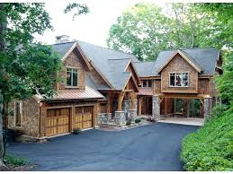 mountain house plans luxury home rear view